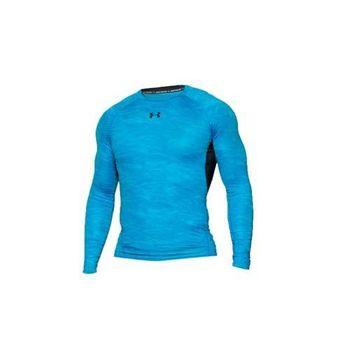 【UNDER ARMOUR】UA HG ARMOUR男花色長袖T恤-緊身衣 寶藍黑  腋下拼接透氣材質