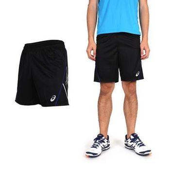 【ASICS】男排球練習短褲- 亞瑟士 黑銀藍  100%聚酯纖維