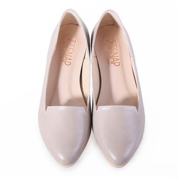 TTSNAP內增高-MIT小V口真皮樂福平底鞋-質感灰