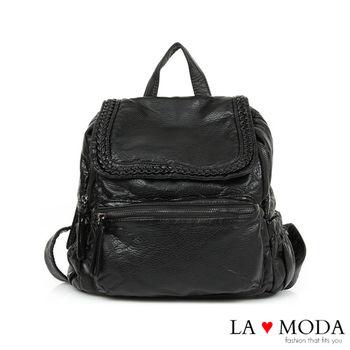 La Moda 韓妞街頭風格系列~大容量柔軟皮革藤編壓紋後背包(黑)