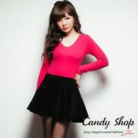 Candy小舖 素面坑條彈性腰縮雙口袋短褲 2色選