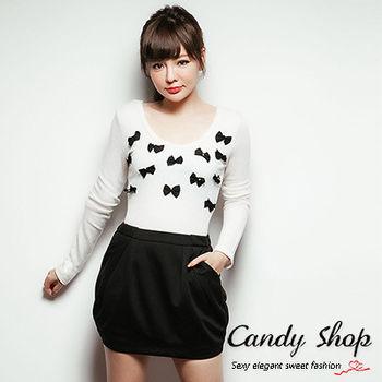 Candy小舖 甜美胸前蝴蝶結圓領針織長袖上衣