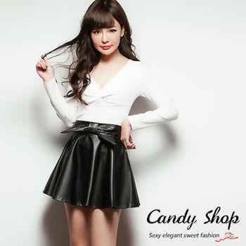 Candy小舖 甜美皮革前蝴蝶結伸縮A字裙