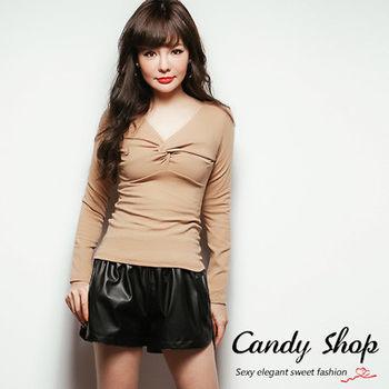 Candy小舖 胸前扭結素面百搭長袖上衣 3色選