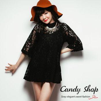 Candy小舖 玫瑰簍空棉毛造型七分袖兩件式短洋 2色選