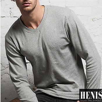 【HENIS】3件組時尚彩色V領長袖上衣 (隨機取色)