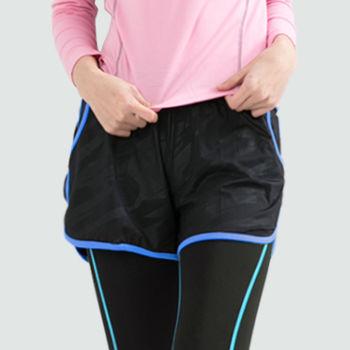 愛運動-女款 短褲 慢跑褲 飄飄褲 馬拉松褲 無內裡 快速吸排 新色上市 黑螢光藍邊