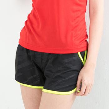 愛運動-女款 短褲 慢跑褲 飄飄褲 馬拉松褲 無內裡 快速吸排 新色上市 黑螢光綠邊