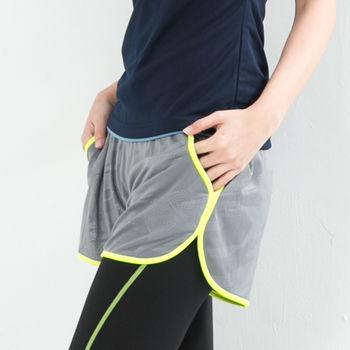 愛運動-女款 短褲 慢跑褲 飄飄褲 馬拉松褲 無內裡 快速吸排 新色上市 淺灰螢光綠邊
