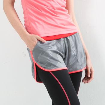愛運動-女款 短褲 慢跑褲 飄飄褲 馬拉松褲 無內裡 快速吸排 新色上市 淺灰螢光粉邊