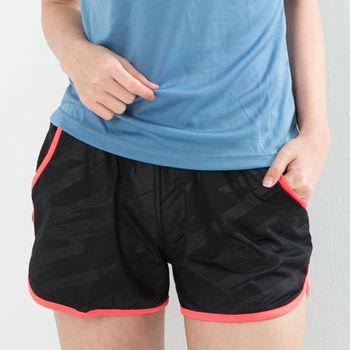 愛運動-女款 短褲 慢跑褲 飄飄褲 馬拉松褲 無內裡 快速吸排 新色上市 黑螢光粉邊