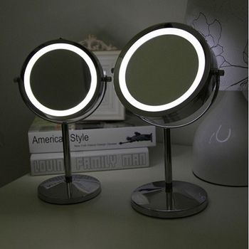 【協貿】7吋超亮LED燈鏡金屬帶燈化妝鏡台式雙面梳妝鏡
