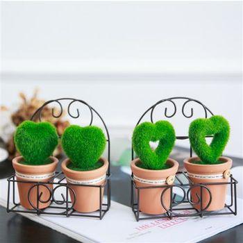 【ZARATA】仿真愛心桌上園藝擺飾人造草