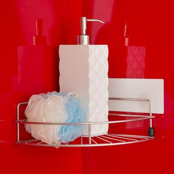 《舒適屋》無痕貼系列-304不鏽鋼轉角置物架