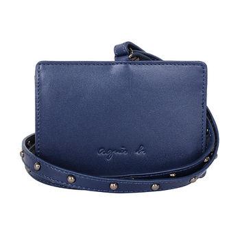 agnes b.   voyage 鉚釘掛帶皮革草寫b-logo證件夾/藍