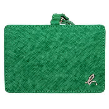 agnes b.   voyage 防刮皮革B-logo橫式證件夾/亮綠(附帶)