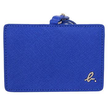 agnes b.   voyage 防刮皮革B-logo橫式證件夾/寶藍(附帶)
