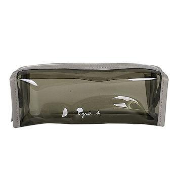 agnes b. 灰皮革邊PVC透明拉鍊筆袋萬用包/灰