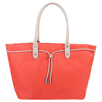 agnes b. voyage帆布麻繩束袋手提包(大/橘底灰白邊)