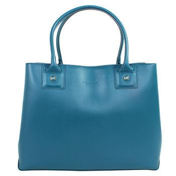 agnes b. voyage皮革手提包(大)藍綠/金拉鍊