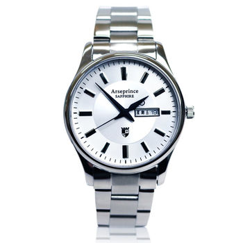 【Arseprince】復刻回憶雙日顯示腕錶-白色