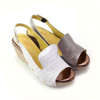 【BIS-VITAL】皮革壓紋金屬釘扣義大利小牛皮編織楔型魚口涼鞋