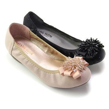 【Pretty】絢麗立體串珠花朵造型中粗跟包鞋-米色、黑色