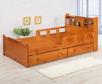 BuyJM奇哥書架型實木雙抽屜單人床組