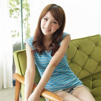 【TOMATO BEAR】MIT頂級柔嫩經典條紋棉T-芸藍(M-3XL)