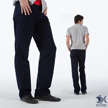 【NST Jeans】390(5375) 深藍色 百搭 格紋 拼接 牛仔長褲(中腰)男裝/褲子/休閒褲/長褲/工作褲