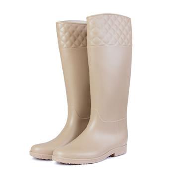 TTSNAP香榭女孩-小香風菱格紋長筒雨靴-米色
