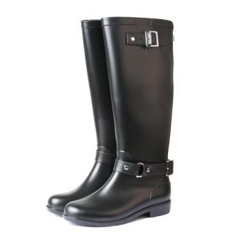 TTSNAP英倫部落客-顯瘦時尚拉鍊防水雨靴-黑