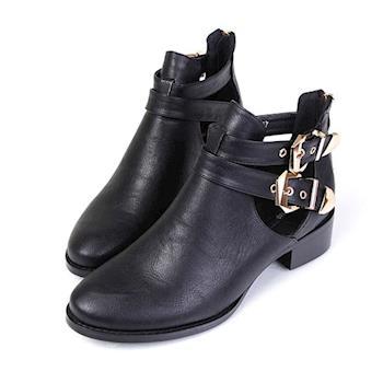 TTSNAP短靴 潮流個性雙釦帶鏤空低跟靴-勁酷黑