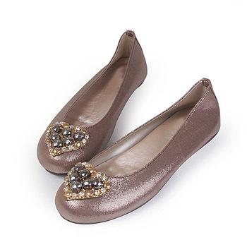 TTSNAP娃娃鞋-MIT全真皮 愛心水鑽羊皮柔軟Q平底鞋-低調棕
