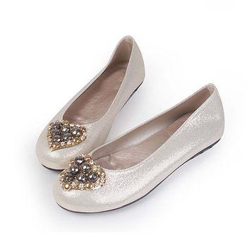 TTSNAP娃娃鞋-MIT全真皮愛心水鑽羊皮柔軟Q平底鞋-粉嫩米
