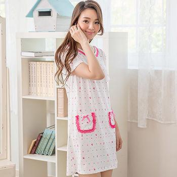 Wonderland ST843.2清新小熊牛奶絲居家洋裝(粉)