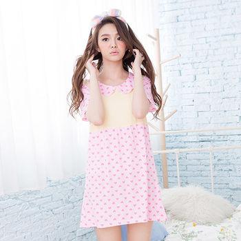 Wonderland ST839.3 清新俏麗牛奶絲居家洋裝(粉)