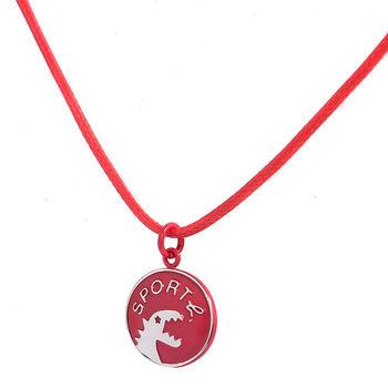 agnes b.  sport b.恐龍圓圈造型綿繩項鍊/紅