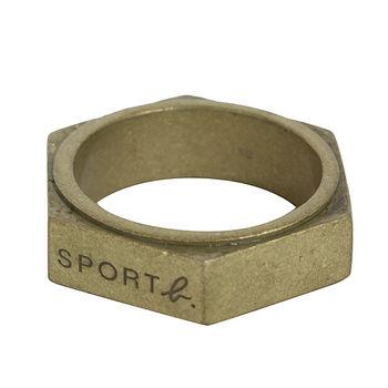 agnes b.  SPORT b.刻字寬板戒指/復古金(3)號