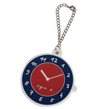 agnes b.  Agnes b圓型時鐘包包掛飾/擦拭布(紅藍)