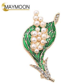 美玥珠寶 滴釉鑲鑽鑲珍珠百合花胸針