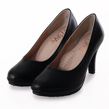 TTSNAP高跟鞋-MIT素面防水台小圓頭軟Q跟鞋-經典黑