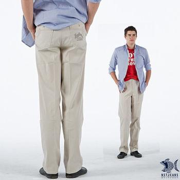【NST Jeans】390(5377) 米白色 率性直條紋 斜口袋休閒長褲(中腰)男裝/牛仔褲/褲子/工作褲