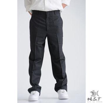 【NST Jeans】390(8958) 斜口袋淡直紋 輕質蠶絲西裝褲 (中腰)