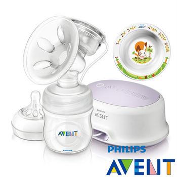 PHILIPS AVENT 輕乳感PP標準型單邊電動吸乳器+QQ兔學習小碗-6M+
