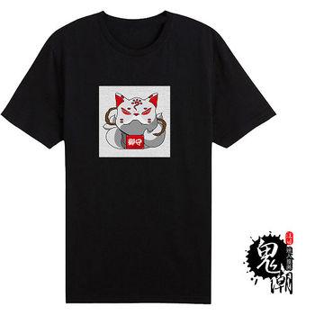 【男人幫大尺碼】日式T恤御守招財貓純棉T恤(AB037)