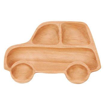 日本PETITS ET MAMAN 造型木質餐盤-叭噗汽車