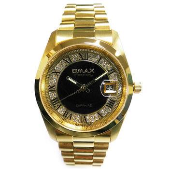 【OMAX】經典晶鑽金色圓形男錶