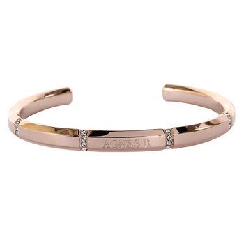 agnes b. b-logo帶水鑽造型手環/玫瑰金(1)號