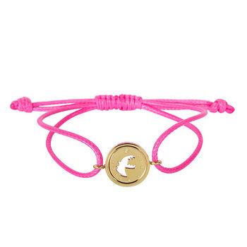 agnes b. 金色圓SPORT b-logo空心恐龍造型棉繩手環(桃線)